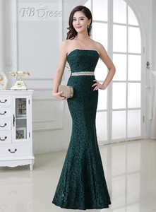 2016 Hot Sale Fashion New Arrival Charming Free Shipping Strapless Mermaid Crystal Floor-length Dark Green Lace Evening Dresses 1127