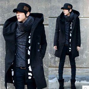Inverno uomo lungo trench di lana maschile giacca con cappuccio cappotto di stile coreano per gli uomini abito caldo soprabito 3 colori più dimensioni