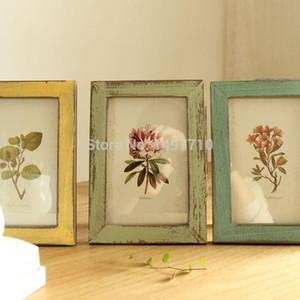 2015 Fasion Retro y nostálgico / muebles viejos Marco de fotos de madera Madera 6 pulgadas rectángulo verde Multi-frame marco envío gratis