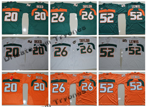 Homens Miami Hurricanes College Football Jerseys 26 Sean Taylor 52 Ray Lewis 20 Ed Reed Verde Laranja costurado Jerseys