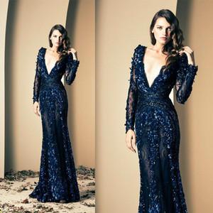2019 Ziad Nakad Royal Blue Prom Dresses Scollo a V profondo Hand Made Flowers Manica lunga Sheer Mermaid Illusion Lace Abiti da sera lunghi