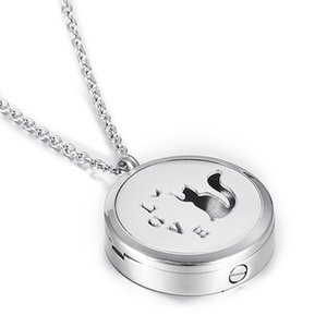 Pet Cat Oil Locket Difusor Cremación Urna Colgante Collar de cenizas Memorial Ash Keepsake Colgante Collar Funeral Urn Ataúd