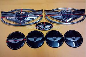 Ücretsiz Kargo 7 adet / takım Yepyeni Gümüş Genesis Kanat Rozet Amblem Hyundai Genesis Coupe / araba amblemler / Dış Aksesuarlar / 3D sticker