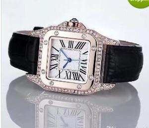 2017 년 패션은 명품 시계 남 여성 남성용 시계 스퀘어 다이아몬드 베젤의 가죽 스트랩 최고 브랜드의 석영에 대한 남성 여성 최고의 선물