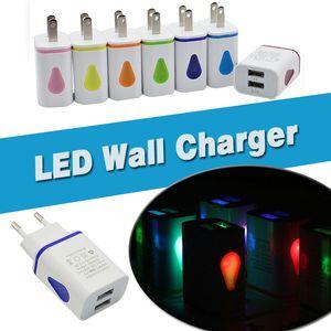Cargador de pared LED Doble puerto USB 2 puertos Se iluminan gotas de agua Adaptador de corriente para viajes en el hogar 5V 3.1A AC EE. UU. Enchufe de la UE para iPhone Samsung LG HTC Tablet Teléfono