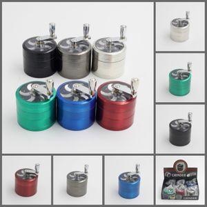 Tabakschleifer 56mm 4layers Zicn Legierung Handkurbel Tabakmühlen Metallmühlen für Kräuter Kräutermühlen für Tabak DHL frei