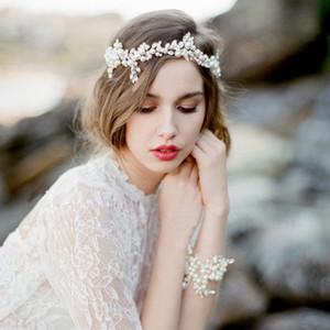 웨딩 헤드 피스 Bridal Accessories Fascinators 2016 저렴한 MOdest 패션 헤어웨어 진주 비즈 크리스탈 헤드 밴드 저렴한 모던 헤어 쥬얼리
