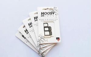Frete grátis 100 pçs / lote Noosy Nano Cartão SIM Micro Cartão SIM para Padrão Adaptador Adaptador Converter Set para iPhone 6/5 / 4S / 4 com Eject Pin chave