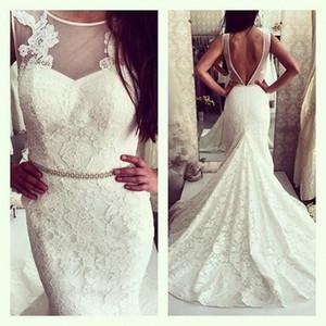 Custom Made 2021 New Lace Mermaid Wedding Dresses Sheer Scoop Beaded Sash Backless Court Train Summer Beach Trumpet Wedding Gowns