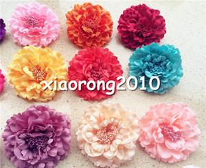 """100pcs teste di fiori di peonia artificiale con perno 11cm / 4.33 """"20 colori tessuto rosa camelia testa di fiore per fiori per capelli festa nuziale"""