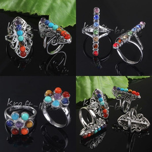 10pcs all'ingrosso di fascino argento placcato 7 perline di pietra Chakra Healing diversi stili pietra regolabile gioielli anello di dito