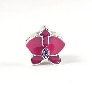 Charms de fleurs pourpres d'orchidée S925 Sterling Silver Fits pour bracelet de style bricolage H8