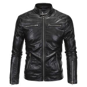 Al por mayor-2016 Nueva Primavera Otoño Chaqueta de Cuero Hombres Slim Standard Stand Collar Chaqueta de Imitación de Cuero Moto Coat Suede 18Y619