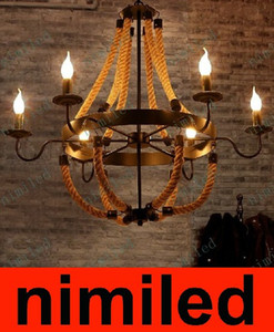 Nimi567 Personalidad Creativa Vintage Restaurante Café Retro Barra de Hierro Loft Cuerda Araña de Iluminación Lámpara Colgante Luces Droplight