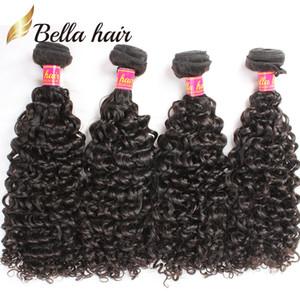 Bella cabelo brasileiro pacotes de cabelo curly virgem humano trama extensões encaracolado 4 pcs / lote pacotes atacado a granel