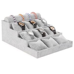 De alta calidad de múltiples capas gris reloj de terciopelo pulsera de exhibición de la joyería soportes sostenedor titular de la flor almacenamiento de la bandeja de la joyería bandeja organizador