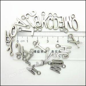 Venta al por mayor-Mezcla 520pcs encantos alfabeto letra colgante de plata tibetana aleación de zinc se adapta a la pulsera collar DIY metal joyas resultados