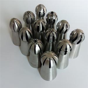 الجملة-12 PCS / LOT AMW الفولاذ المقاوم للصدأ Russian Icing Piping Nozzles الجملة ملحقات معجنات الكعك أدوات تزيين الكعكة RU313