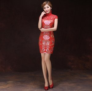 Livraison gratuite rouge robe de mariée chinoise Qipao Costume National Femmes robe chinoise Style broderie Lotus Dragon Cheongsam