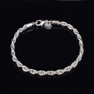 Alta qualidade 4 MM 925 sterling silver torcido corda cadeia pulseira de moda jóias preço de fábrica frete grátis
