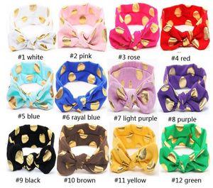 Hot Fashion Baby Bunny Ear Headband 12Colors Baby Gold Dot Headwear Conejo Ear Baby Accesorios para el cabello