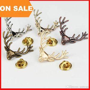 Retro Geweih Brosche Pin Shirt Anzug Kragen Pin Silber Gold Hirsch Geweih Kopf Brosche Tiermodell Pins für Frauen Männer Weihnachtsgeschenk