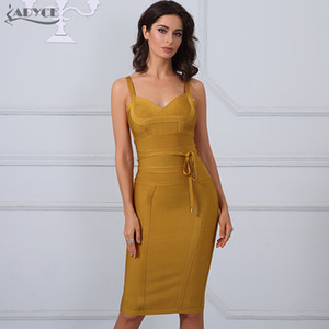 Großhandel-Adyce 2017 Chic Winter Verbandkleid Frau Spaghettibügel Sexy Night Out Bodycon Kleid Celebrity Party Kleid Vestidos