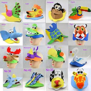 2017 New arrival DIY 3D animals cartoon hat EVA foam cartoons mask for children's party 5 pcs lot mix design