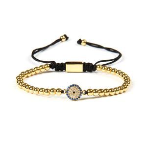 Ailatu Fashion Jewelry all'ingrosso 10pcs / lot 4mm perline di rame con Micro Pave Blue CZ Eye Connector Macrame regalo del braccialetto