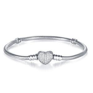 Новый европейский змея браслет с Кристалл проложить сердце Застежка подлинные стерлингового серебра 925 браслеты для женщин ювелирные изделия Diy ювелирные аксессуары