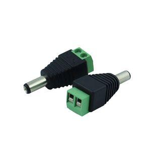 Edison2011 500pcs / lot 12 فولت 2.1 × 5.5 ملليمتر العاصمة السلطة الذكور التوصيل جاك محول موصل المكونات ل CCTV لون واحد أدى ضوء
