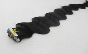 ¡Venta caliente! Cinta en extensiones del pelo humano Remy 20pieces / Set, pelo negro natural, proveedores indios del pelo de la trama de la piel, aplique el pelo