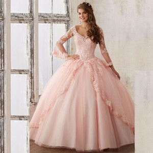Baby Pink Long Sleeve Sweet 16 Dresses Ball Gown Prom Dresses Sexy V Neck Appliqued Quinceanera Dresses 2019