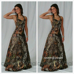 2016 Full Camo Bridesmaid Dresses Halter Prom Dresses with Crystal Beads Custom Made Formal Homecoming Gowns Maid of Honor Dress