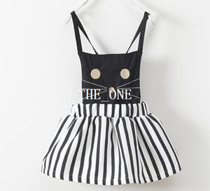 Frühling Herbst 2016 schwarz weiß Streifen kurzes Kleid Lolita Katze Kleid Strapsrock Mädchen Mädchen Slip Kleid Kinder Katze gestreiftes Kleid auf Lager