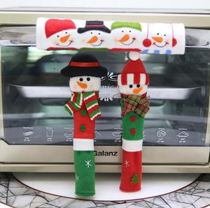 DHL Christmas Decoration Refrigerator Door Fridge Knob Microwave Oven Snowman Kitchen nx Handle Covers Set of 3 for Home Ornament nt