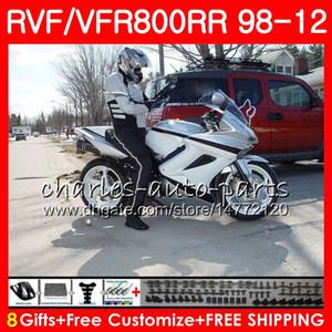 VFR800 para HONDA Interceptor negro plateado VFR800RR 98 99 00 01 02 03 04 12 90NO60 VFR 800 RR 1998 1999 2000 2001 2002 2003 2004 2012 Carenado
