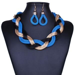 Preparación exagerada de la moda de collar de cadena de metal retro pendientes grandes conjuntos de cadena