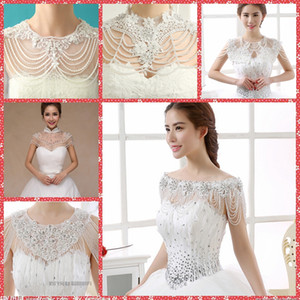 Im Lager luxuriösen Kristall Strass Schmuck Brautverpackungen weißen Spitze-Hochzeit Schal Jacke Bolero Brautkleid mit Perlen verziert Günstige Sommer