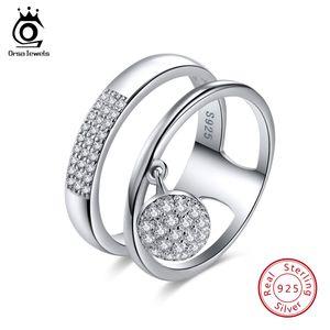 ORSA 100% Véritable JEWELS 925 femmes en argent sterling anneaux brillant zircon cubique Pave Party Réglage Femme Bijoux SR54