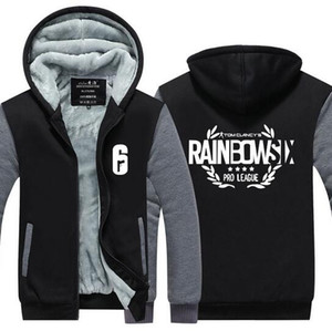 Rainbow Six Siege Cashmere Hoodie dos homens de Nova Tom Clancy Casual Jogo Zipper Overcoat Grosso Inverno quente super algodão com capuz Brasão Jacket