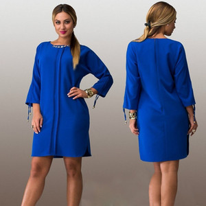 Fashionable Women Dresses Big Size NEW 2016 Plus Size Women Clothing L-6xl Spring and Autumn Dress Casual O-neck Solid Office Bodycon Dress