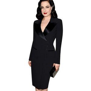 New Womens Elegant Lapel Satin V Neck Patchwork Adjustable Zipper Wear to Work Office Business Sheath Pencil Dress