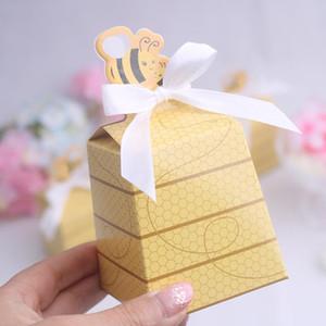 50 stücke Kleine Biene Pralinenschachtel Gelb Baby Shower Geschenkbox Geburtstagsfeier Geschenk-boxen Hochzeit Gunsten Süßigkeitskästen Neu