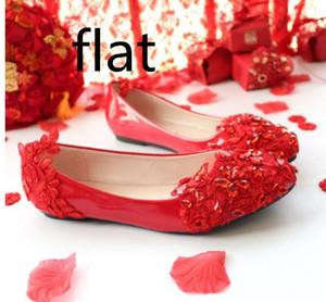 Bas rouge 3cm 5cm chaussures de mariage mariée faible talon plat de demoiselle d'honneur à la main en cristal dentelle robe de mariage pointu chaussures brodées