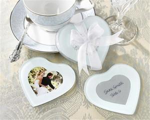 Gros Lots 20 pcs Creative Mignon Coeur Verre Coaster tasse mat pads + cadeau boîte Ruban mariage faveur bébé douche cadeau