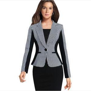 Lcw mode femmes blanches élégant Illusion optique Lapel Houndstooth One Button Porter au travail Bureau des affaires Aménagée Blazer Outwear