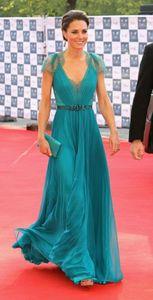 Nueva Kate Middleton en Jenny Packham Sheer con mangas casquillo de los vestidos de noche formal de la celebridad de la alfombra roja vestidos de encaje de gasa vestidos de noche