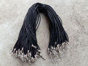 DIY 보석 Neckalce 펜던트 공예 보석 (18) ''3mm 블랙 PU 가죽 랍스터 버클 매듭 목걸이 코드를