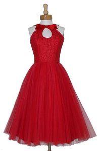 2016 Red Curto Da Dama de Honra Vestidos Keyhole Pescoço Vestido De Fiesta Pageant na altura do joelho Maid Of Honor Vestidos de 1905 Lantejoulas Vintage Vestidos